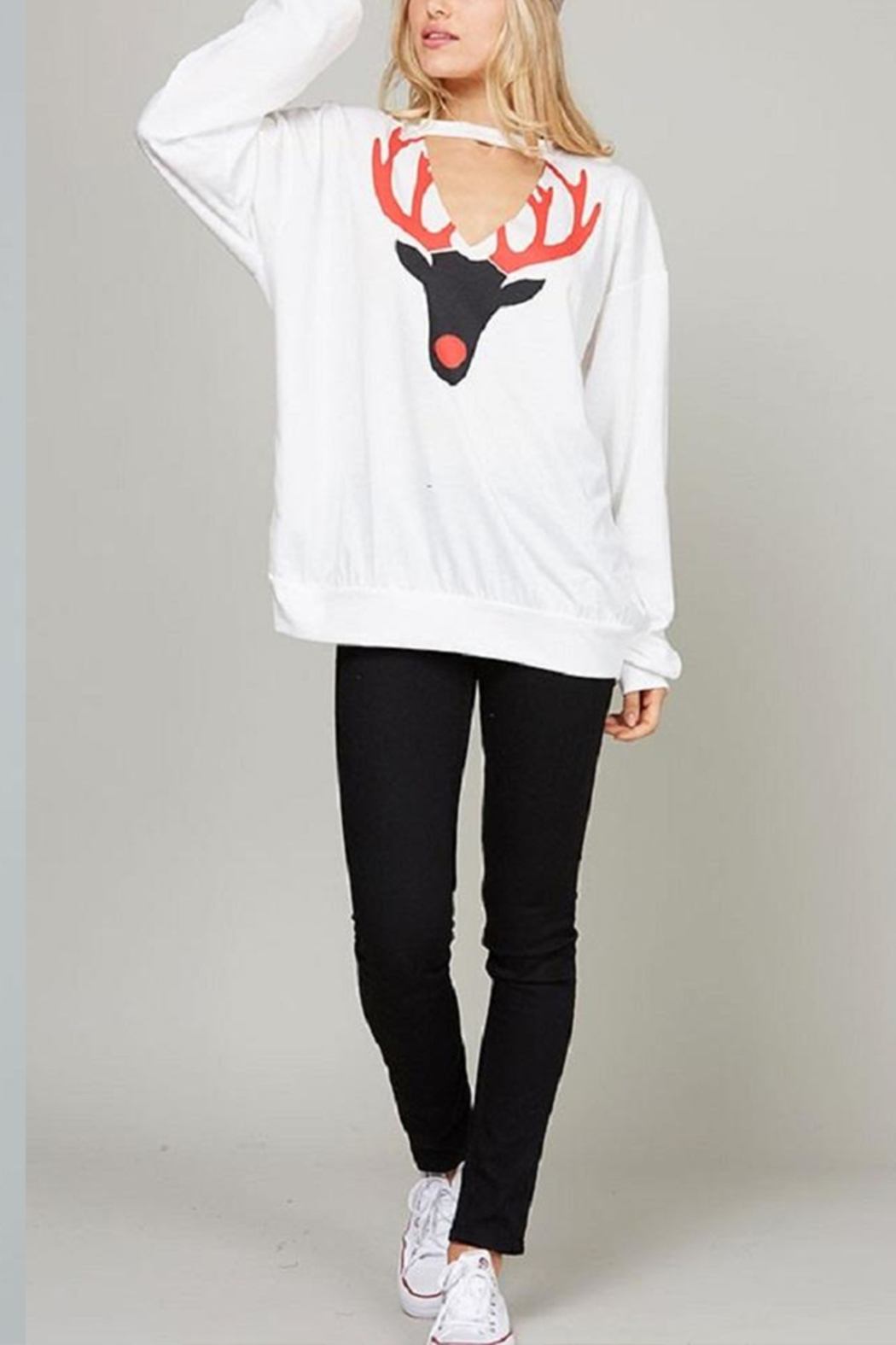 Fantastic Fawn Rudolph Choker Sweatshirt - Front Cropped Image