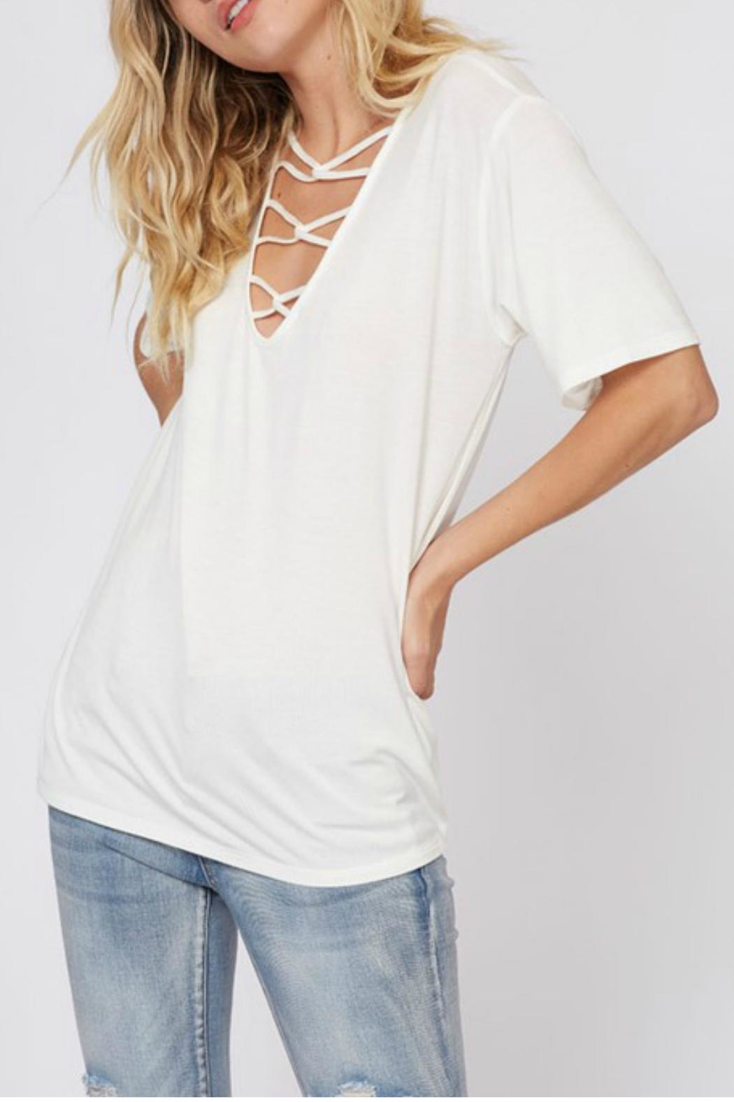 Fantastic Fawn Strappy Cutout Tee - Front Full Image