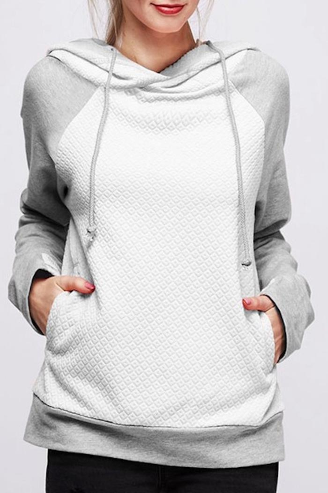 Fantastic Fawn White Quilted Hoodie - Main Image
