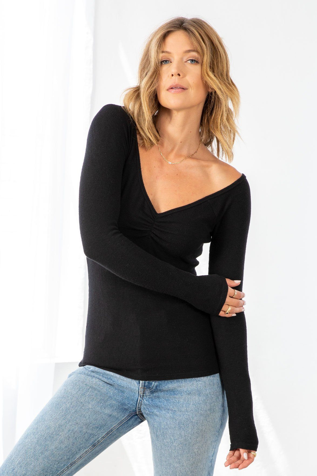 Lovestitch Farrah Ribbed Ruched  Top - Front Cropped Image