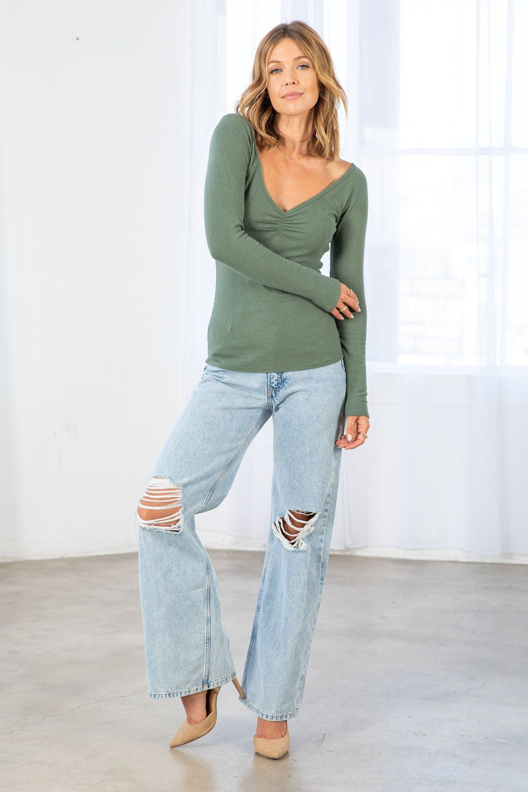Lovestitch Farrah Ribbed Ruched  Top - Back Cropped Image