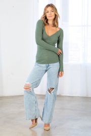 Lovestitch Farrah Ribbed Ruched  Top - Back cropped