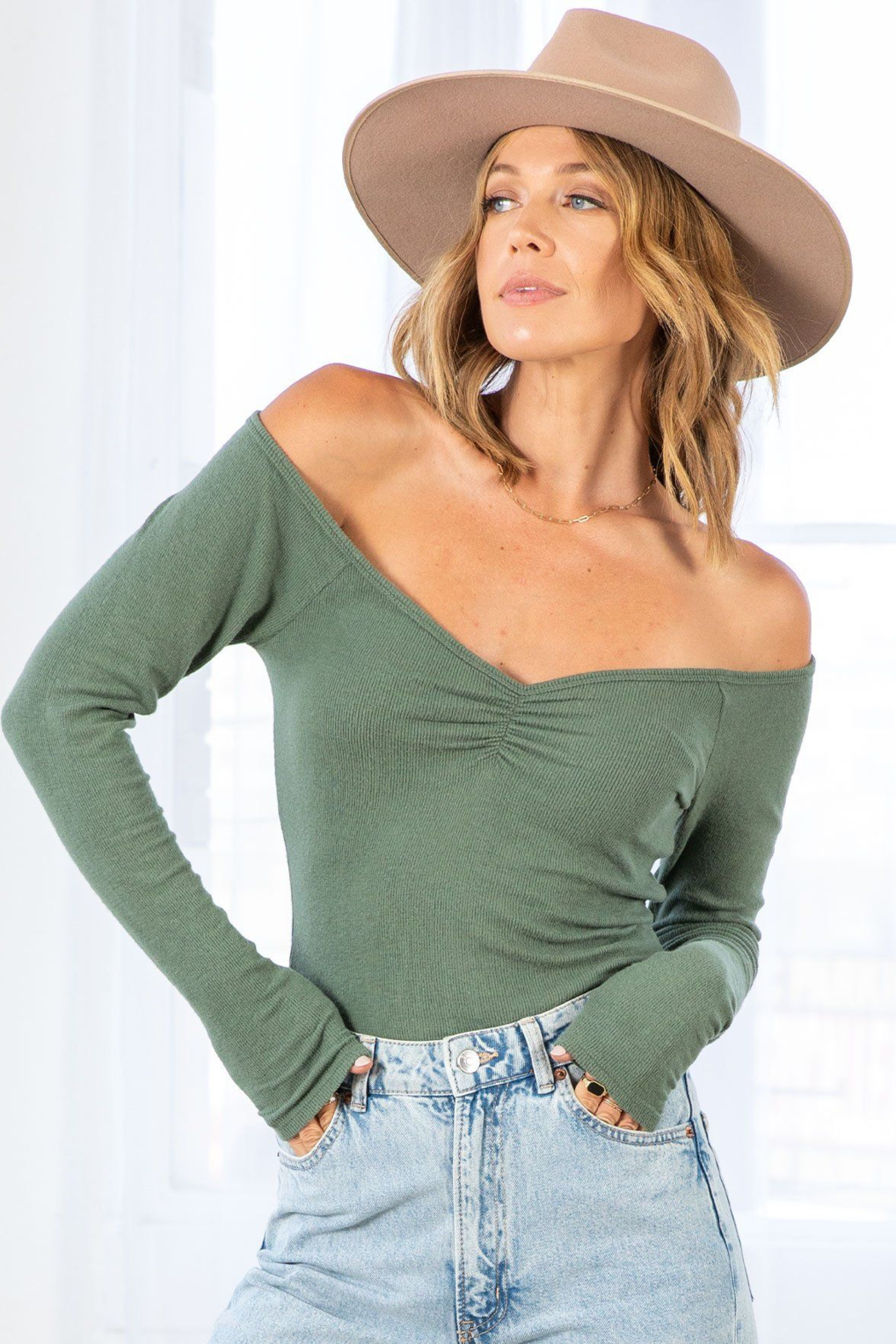 Lovestitch Farrah Ribbed Ruched  Top - Main Image