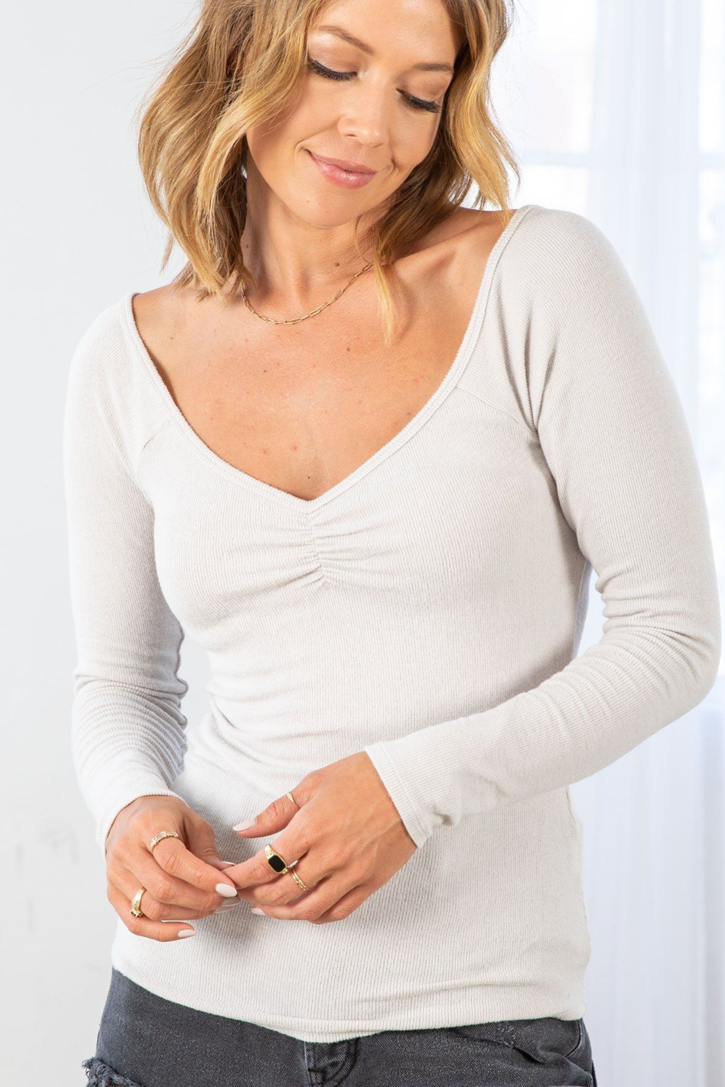 Lovestitch Farrah Ribbed Ruched  Top - Front Full Image