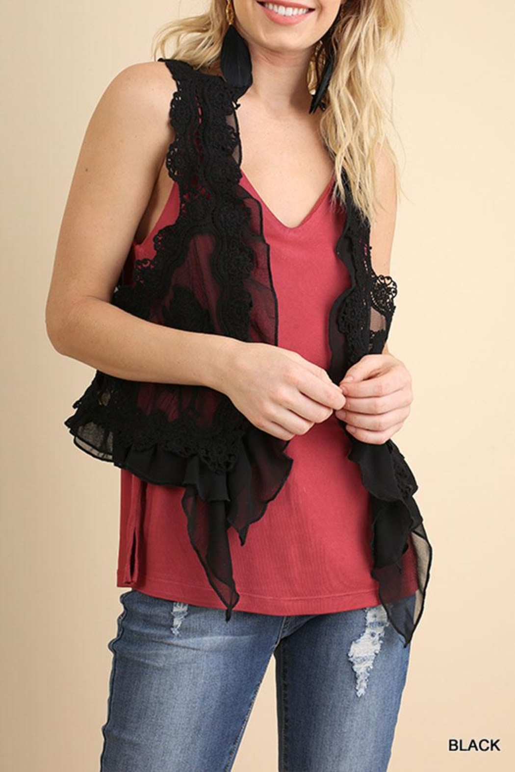 Umgee USA Fashion Crochet Vest - Front Cropped Image