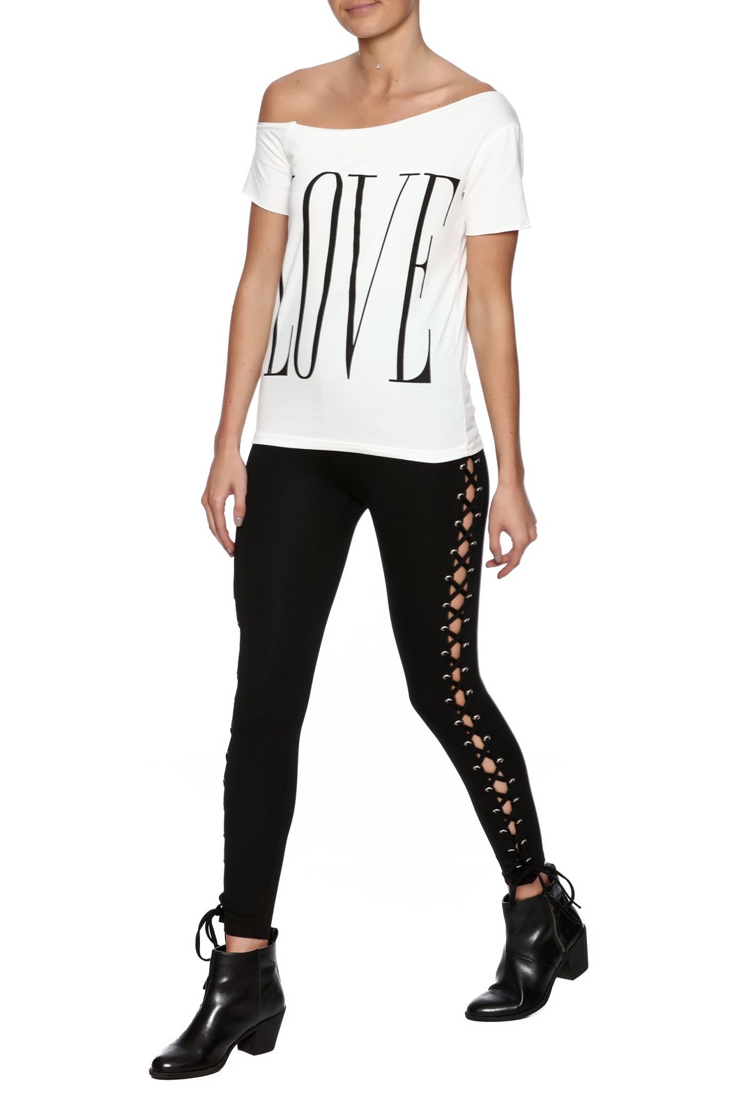 Fashion Love Graphic Top - Front Full Image