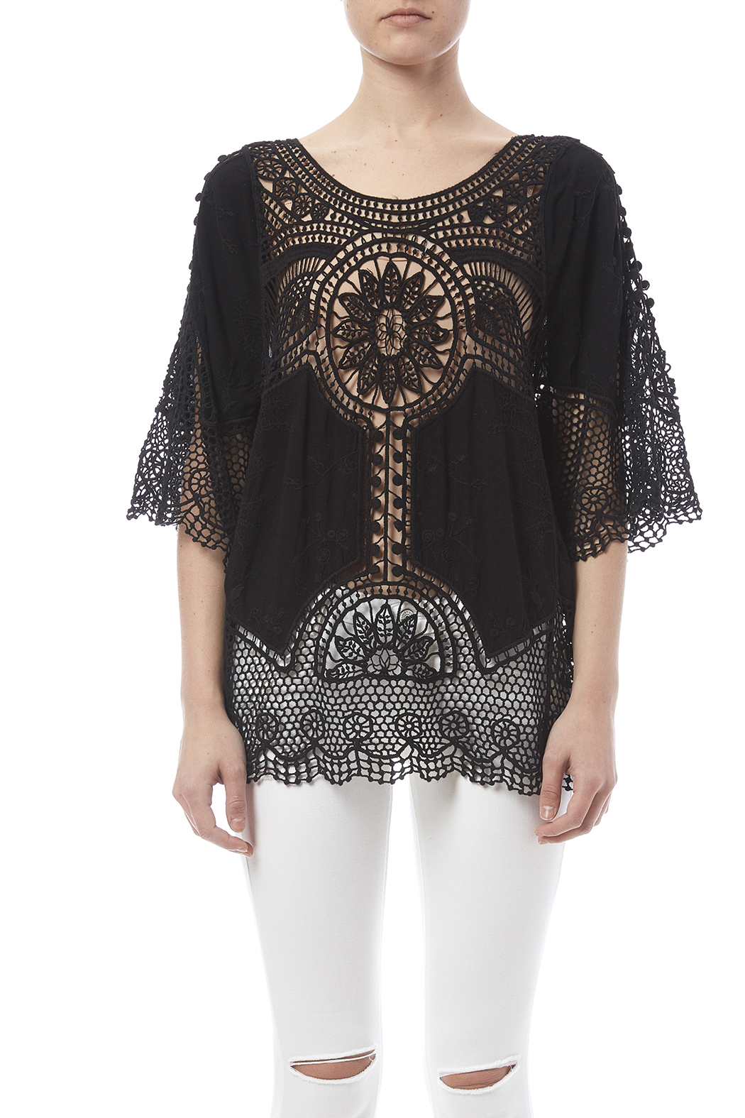 fashion on earth Black Crochet Top - Side Cropped Image