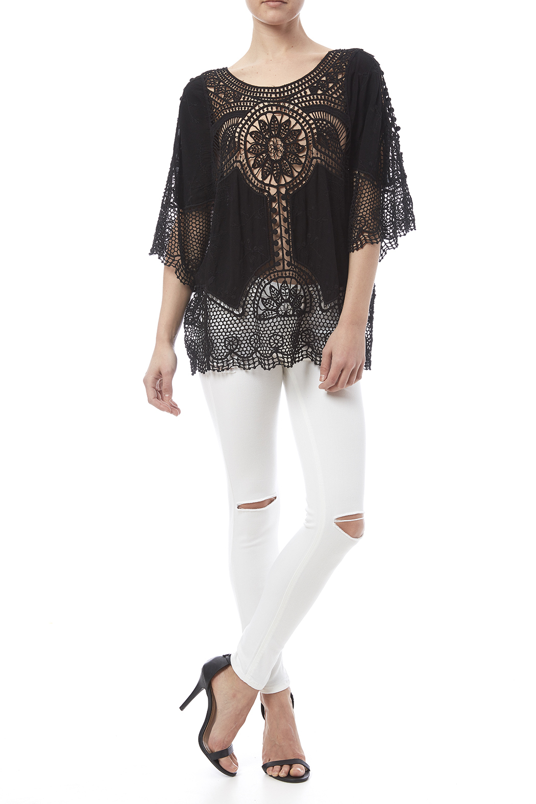 fashion on earth Black Crochet Top - Front Full Image