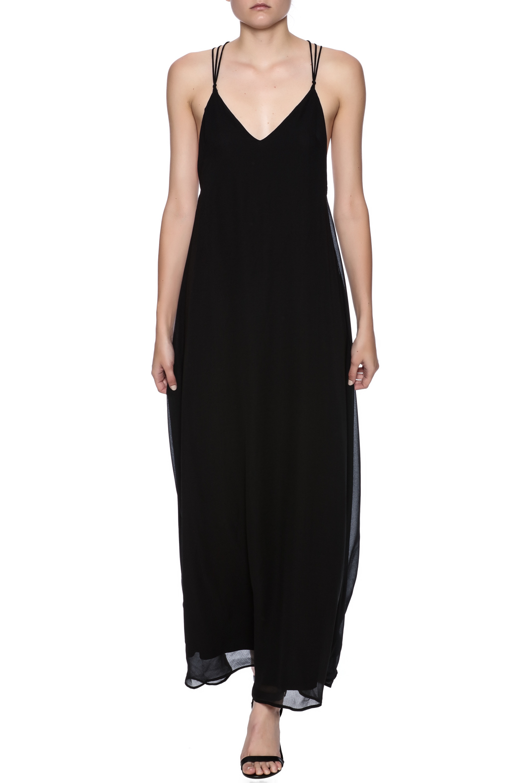 fashion on earth Black String Back Maxi - Front Full Image