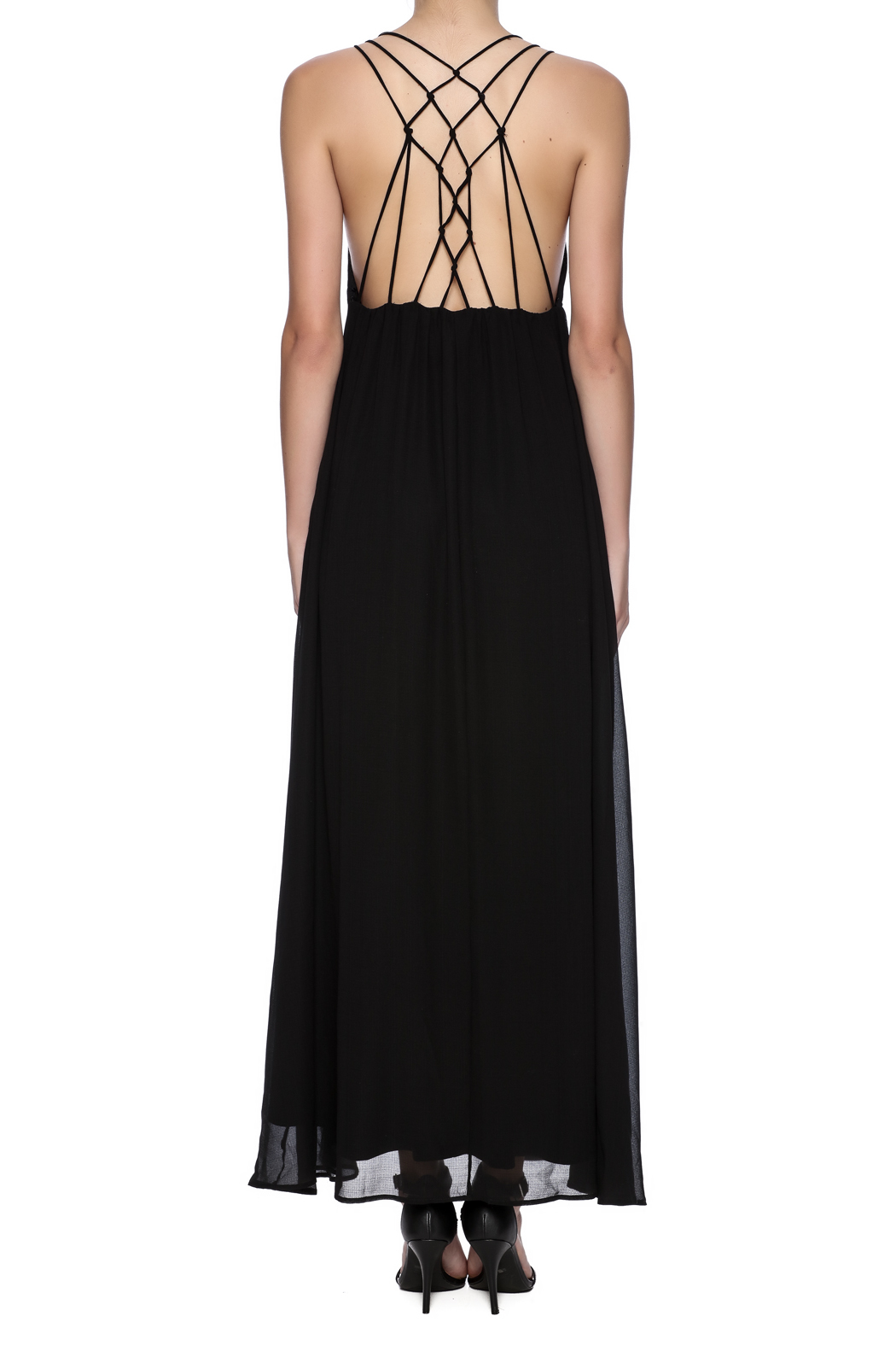 fashion on earth Black String Back Maxi - Back Cropped Image