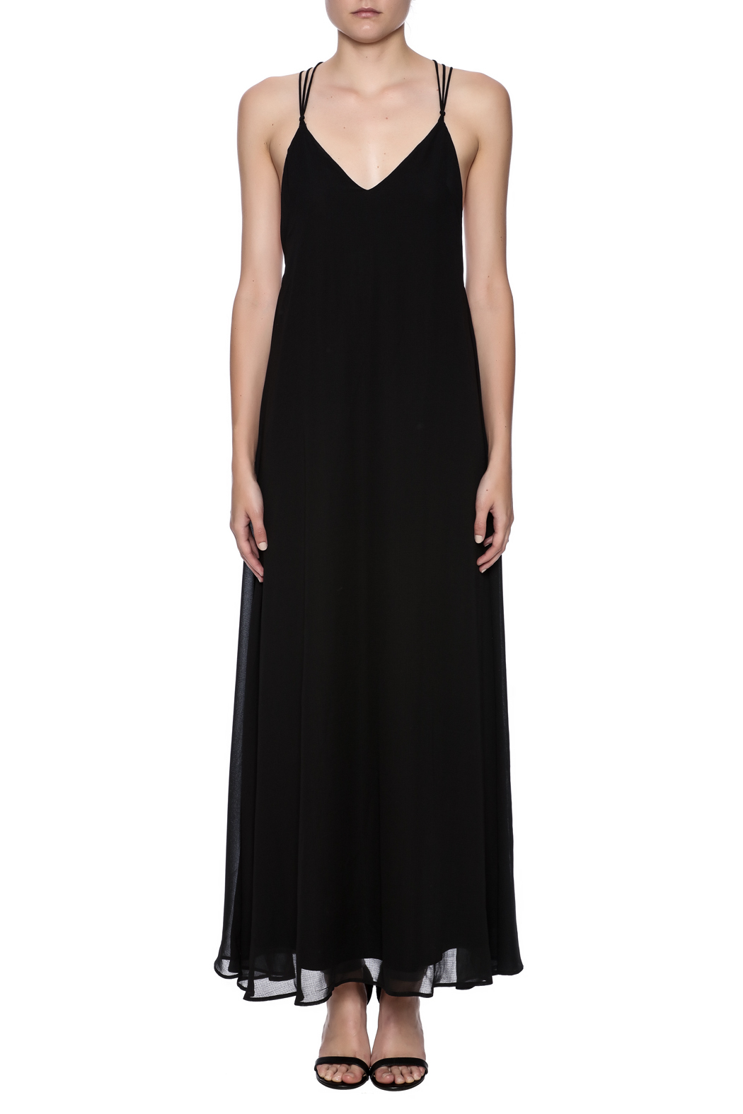 fashion on earth Black String Back Maxi - Front Cropped Image