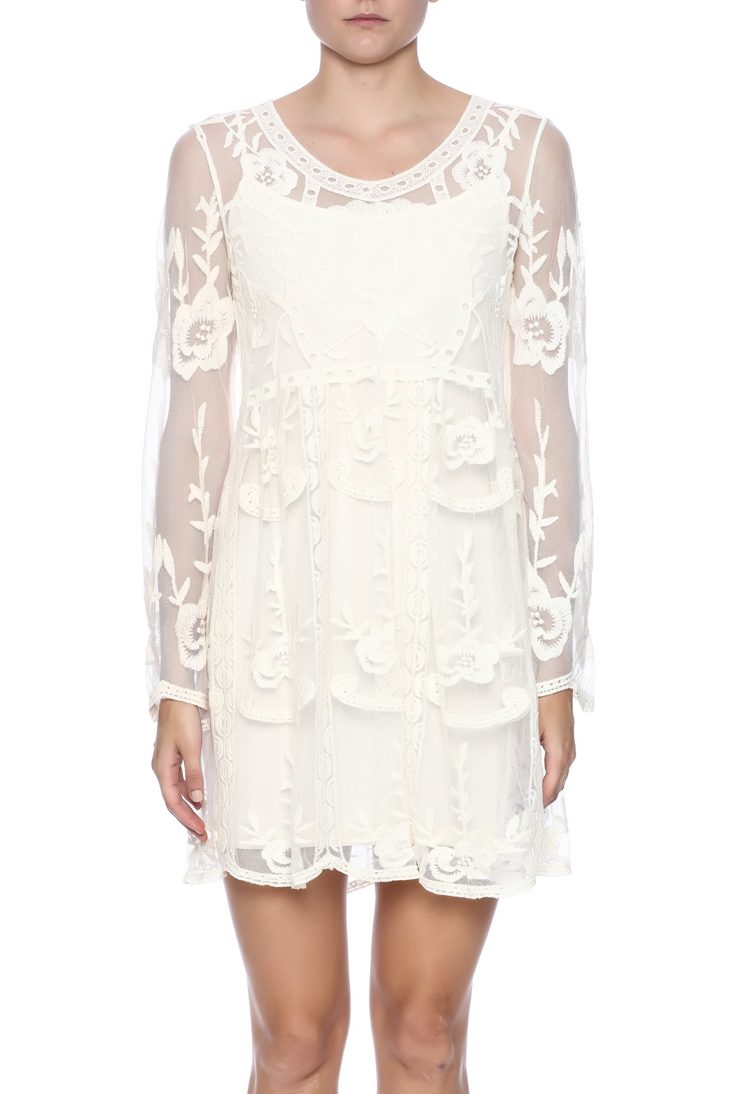 fashion on earth Crochet Lace Dress - Side Cropped Image