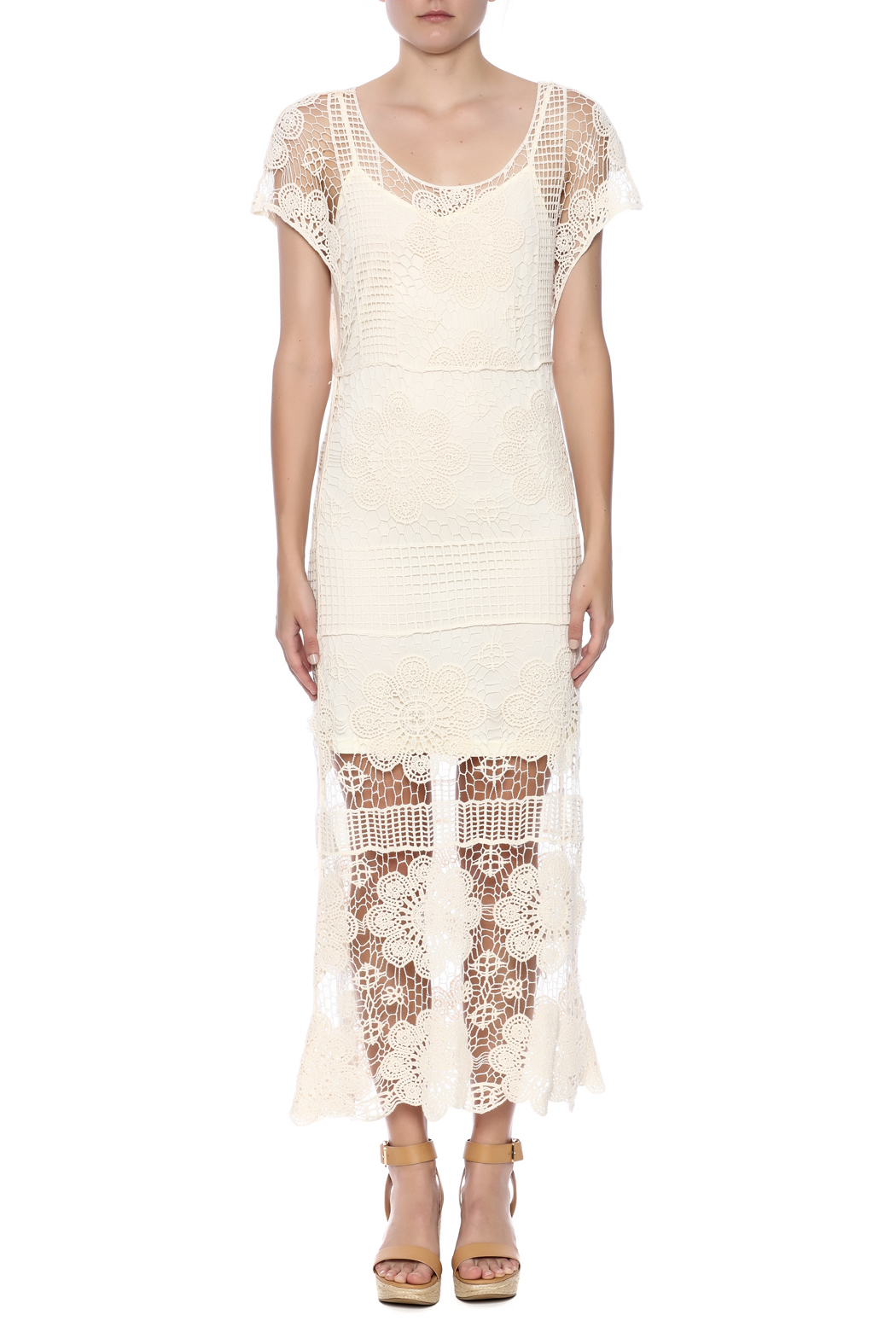 fashion on earth Ivory Romance Dress - Front Cropped Image