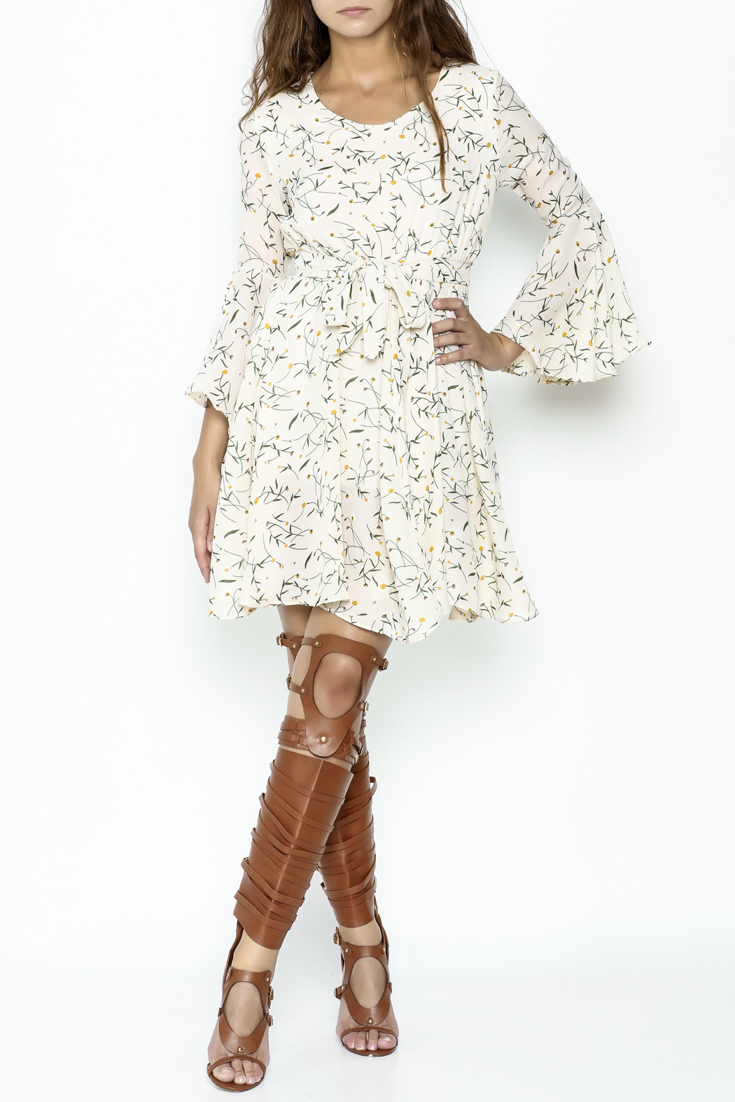 Fashion Pickle Bell Sleeve Printed Dress - Side Cropped Image