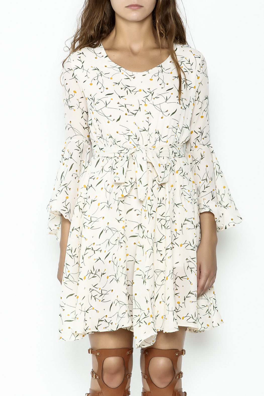 Fashion Pickle Bell Sleeve Printed Dress - Front Full Image
