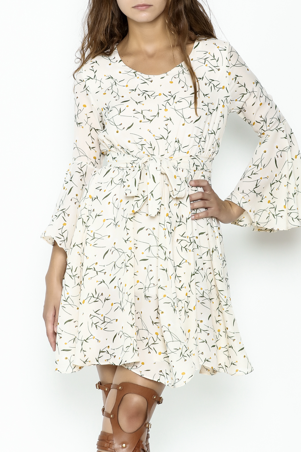 Fashion Pickle Bell Sleeve Printed Dress - Front Cropped Image