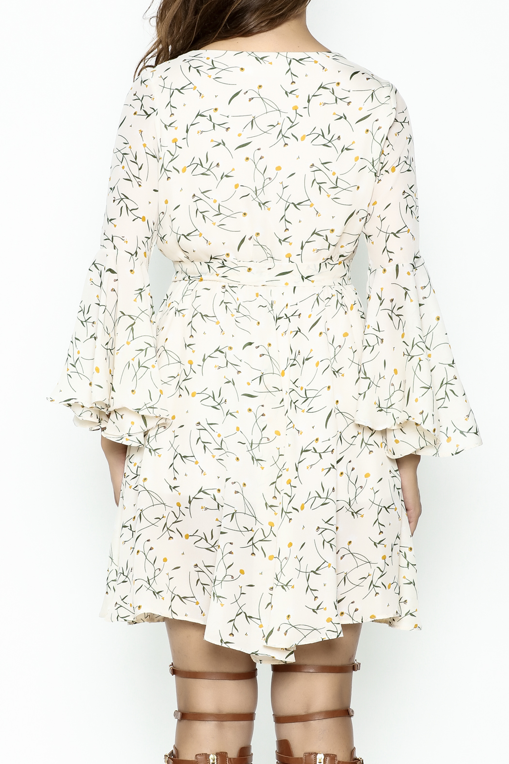 Fashion Pickle Bell Sleeve Printed Dress - Back Cropped Image
