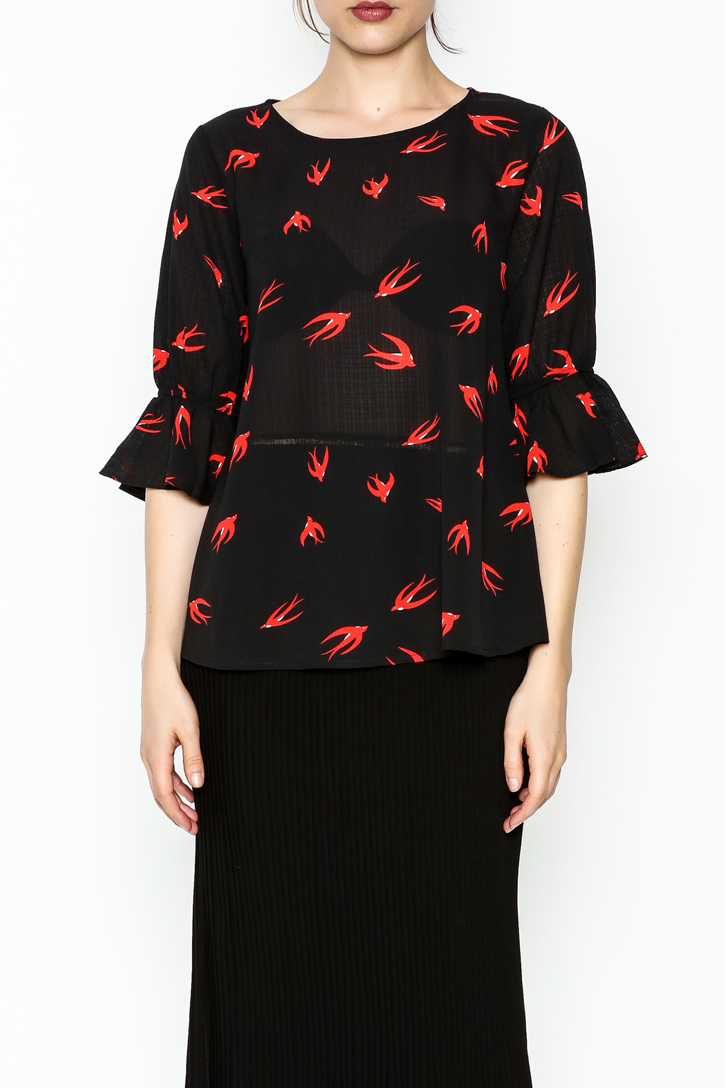 Fashion Pickle Bird Print Blouse - Front Full Image