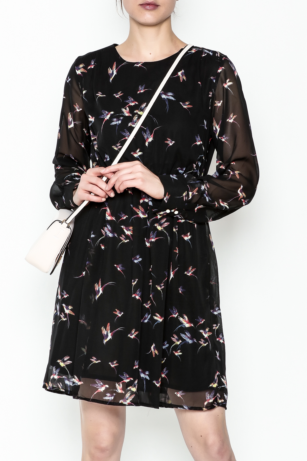 Fashion Pickle Bird Print Dress - Front Cropped Image