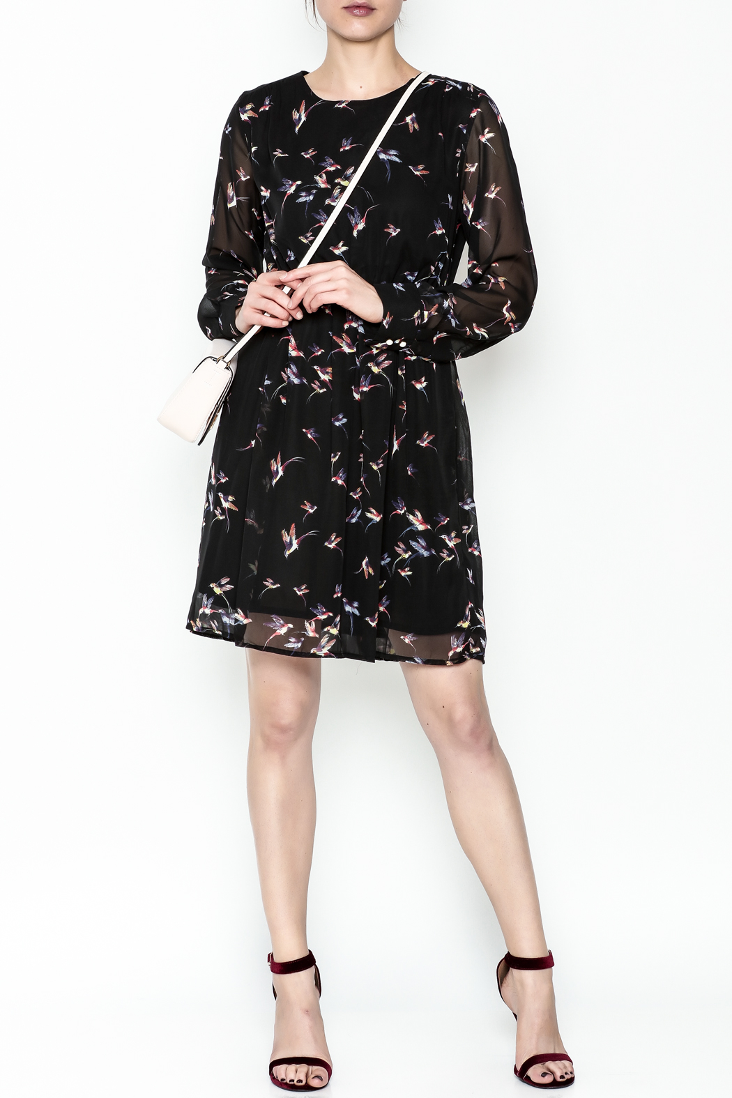 Fashion Pickle Bird Print Dress - Side Cropped Image