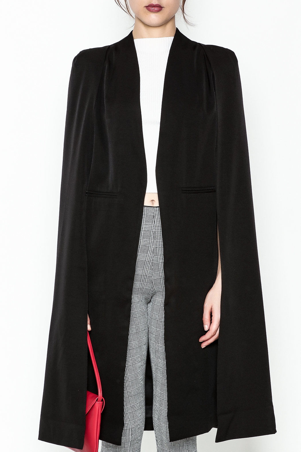 Fashion Pickle Black Cape Jacket - Front Full Image