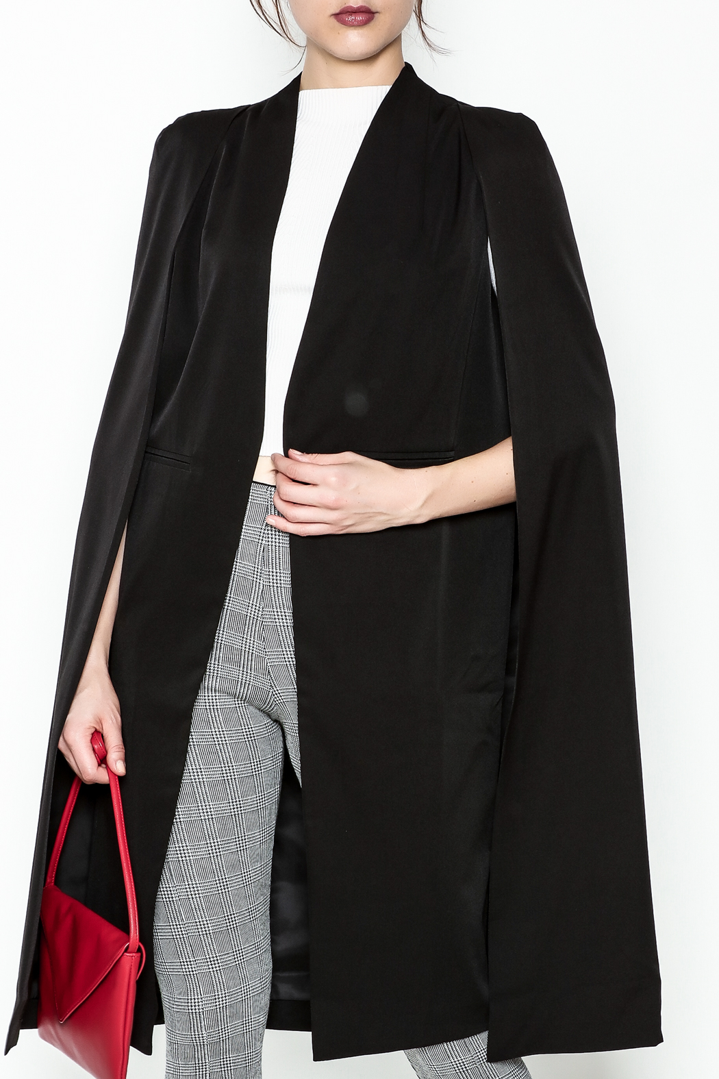 Fashion Pickle Black Cape Jacket - Front Cropped Image