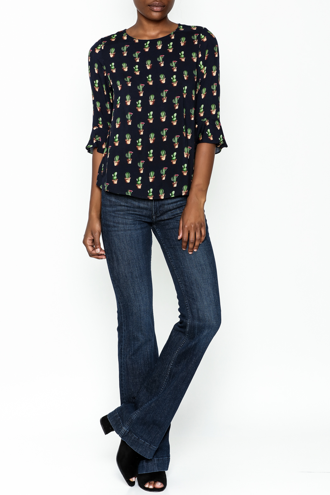Fashion Pickle Cacti Print Blouse - Side Cropped Image