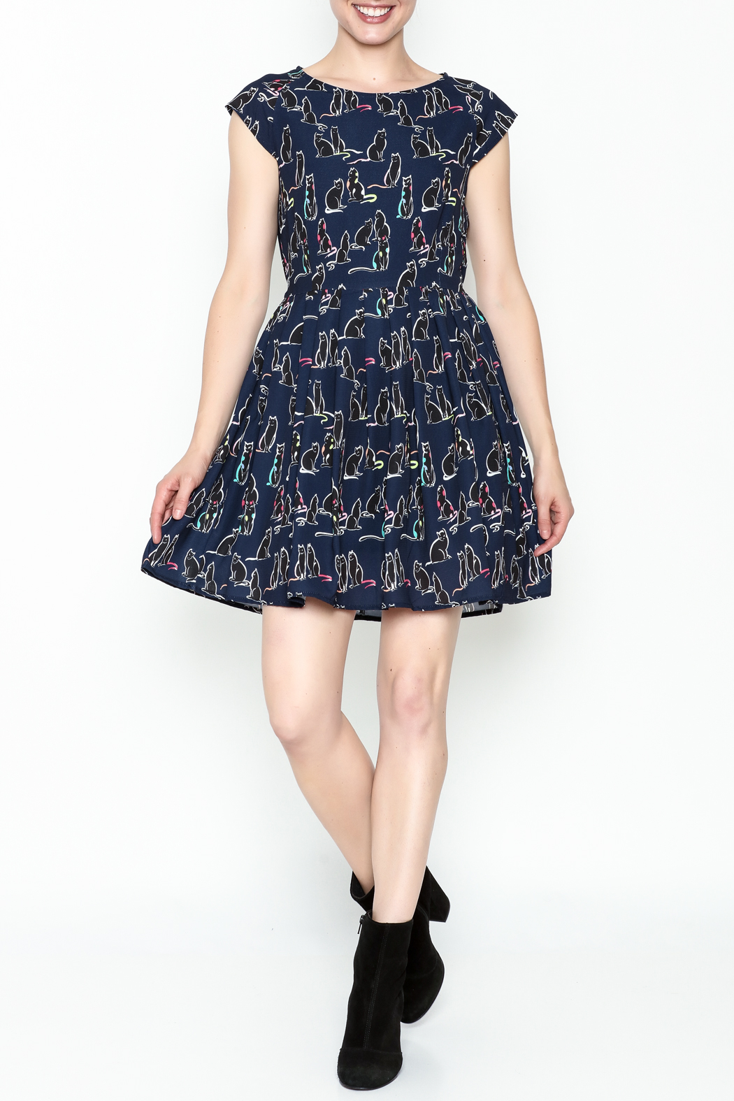 Fashion Pickle Cat Print Dress - Side Cropped Image