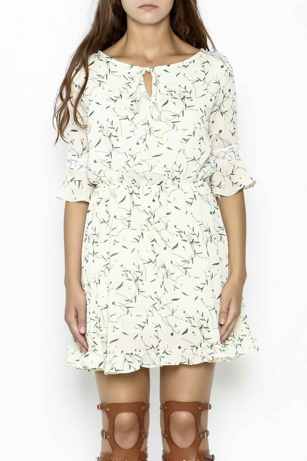 Fashion Pickle Daisy Printed Dress - Front Full Image