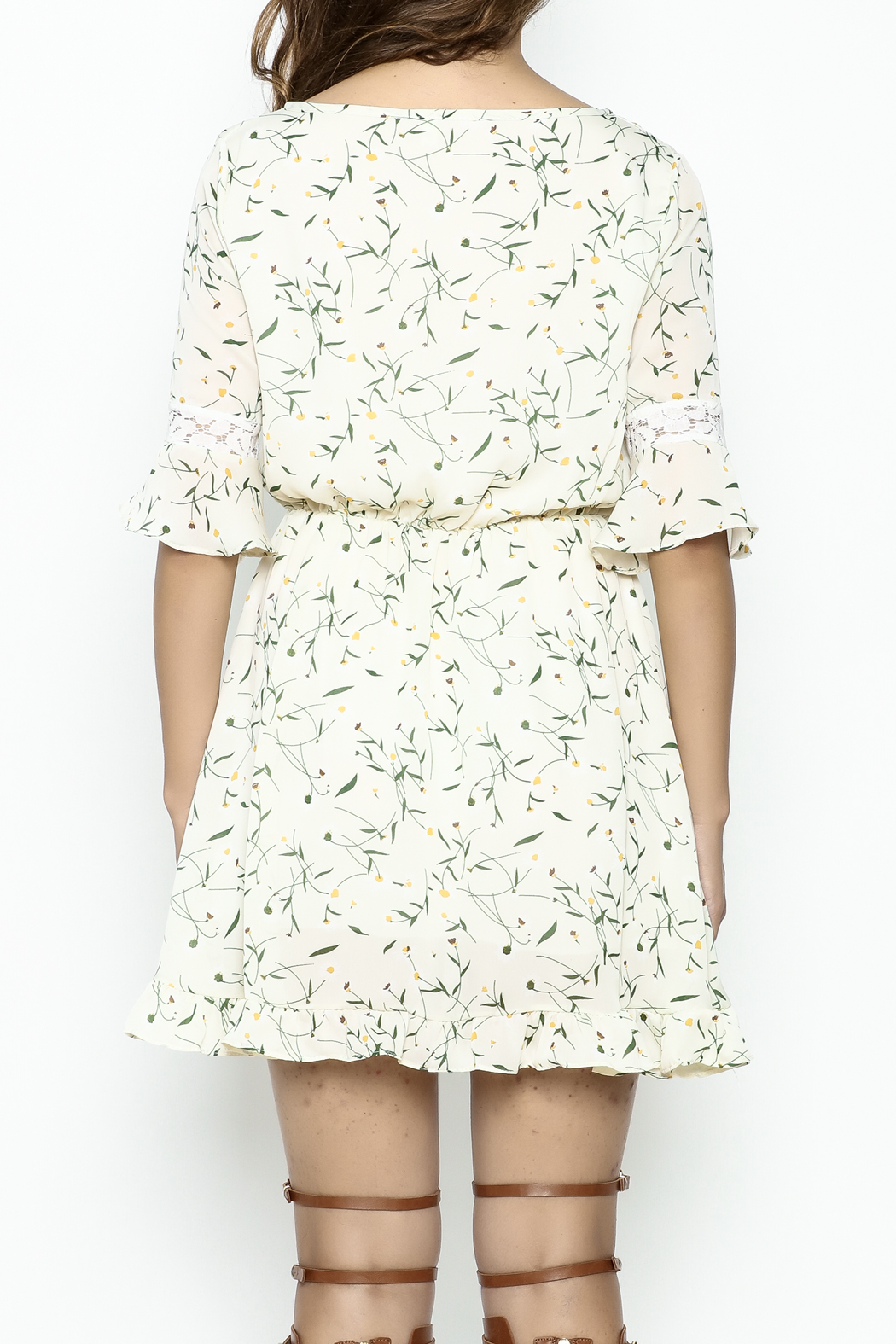 Fashion Pickle Daisy Printed Dress - Back Cropped Image