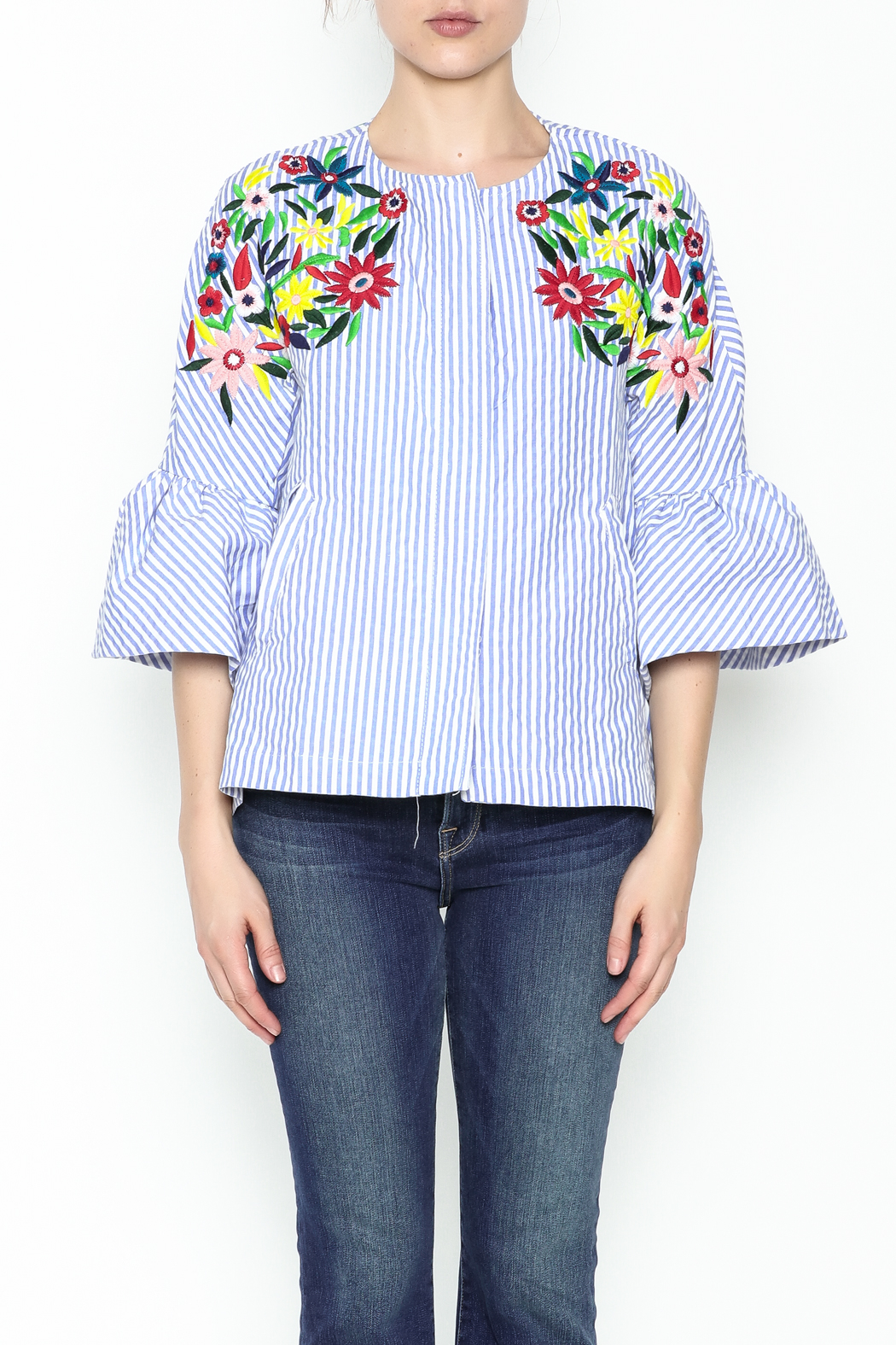 Fashion Pickle Ferera Embroidered Blouse - Front Full Image