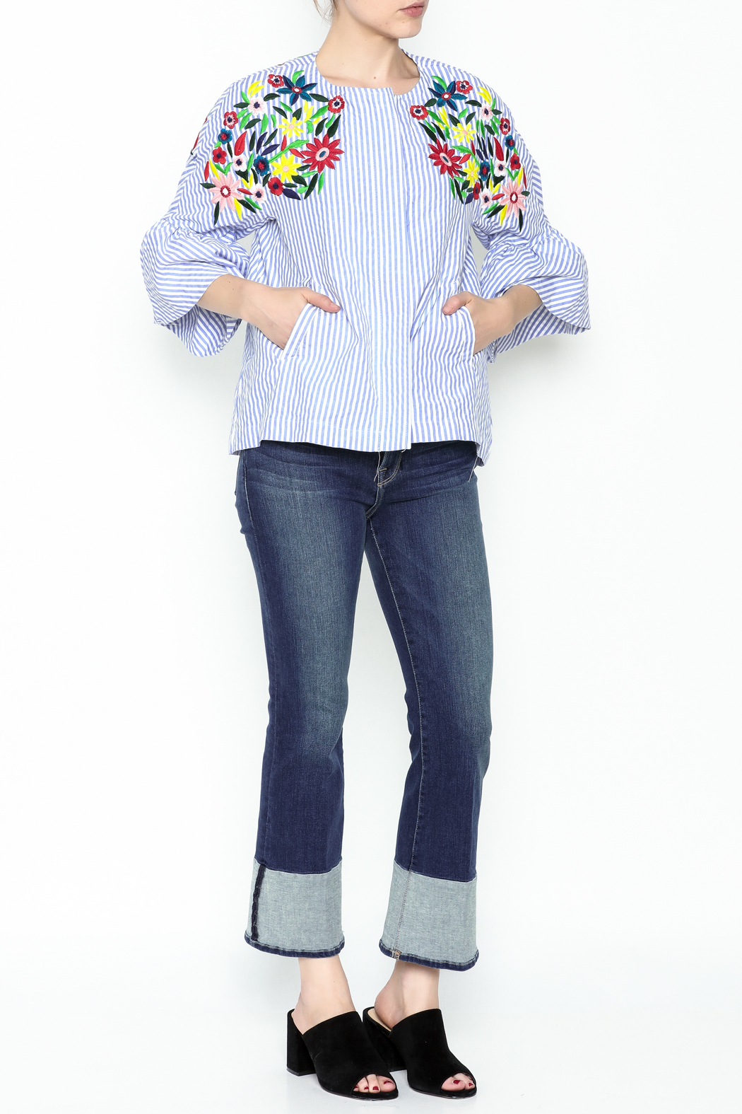 Fashion Pickle Ferera Embroidered Blouse - Side Cropped Image