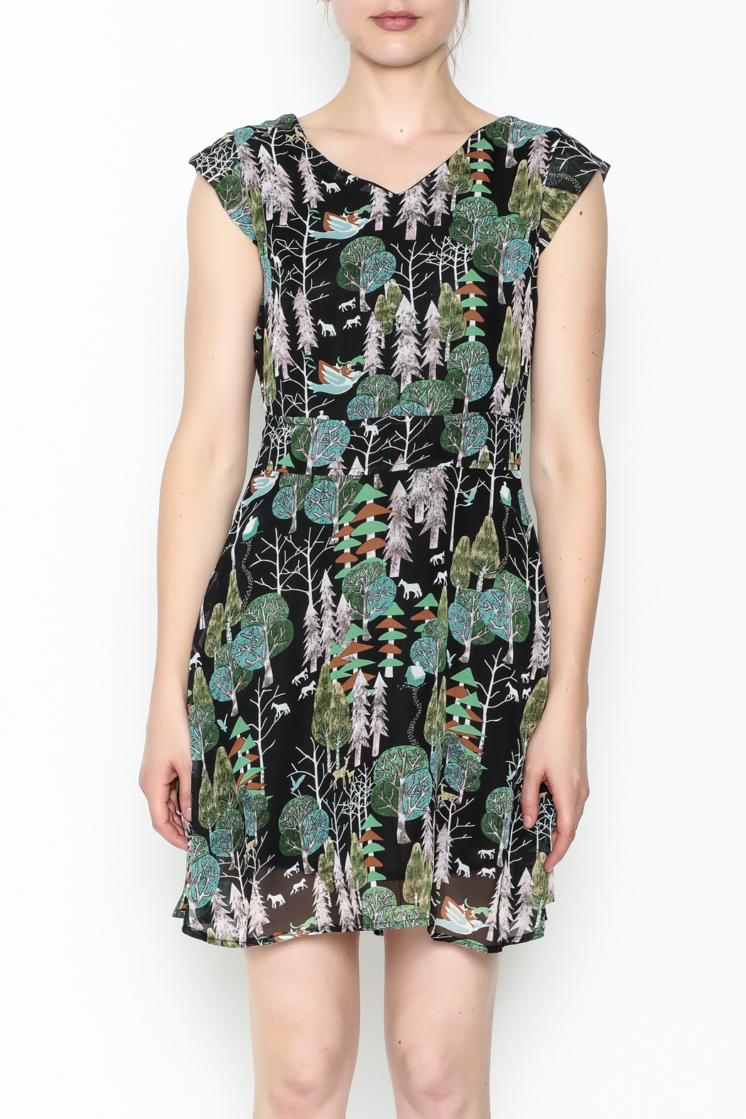 Fashion Pickle Forest Print Dress - Front Full Image