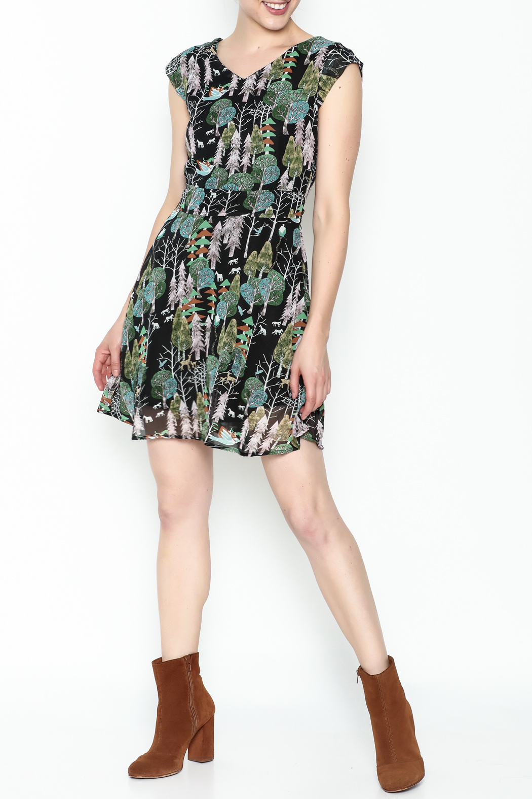 Fashion Pickle Forest Print Dress - Side Cropped Image