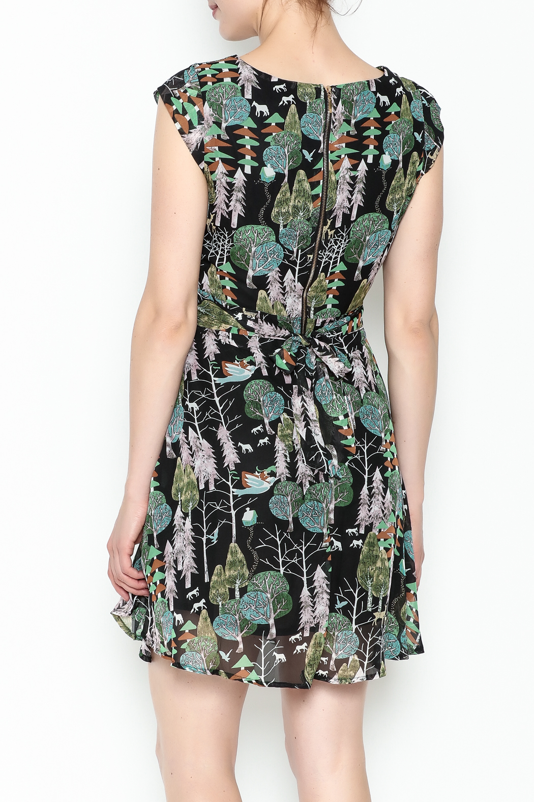 Fashion Pickle Forest Print Dress - Back Cropped Image