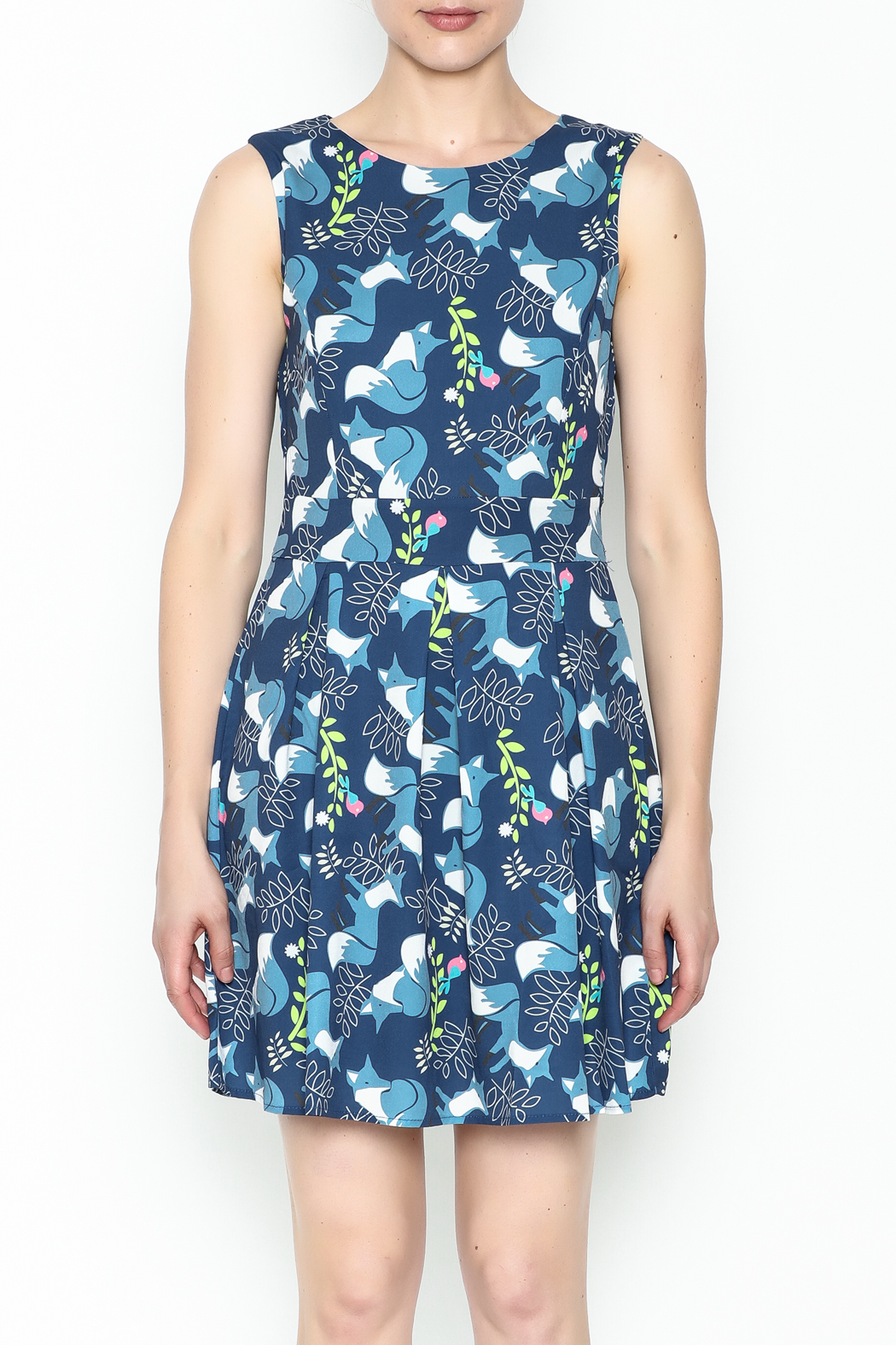 Fashion Pickle Fox Print Dress - Front Full Image