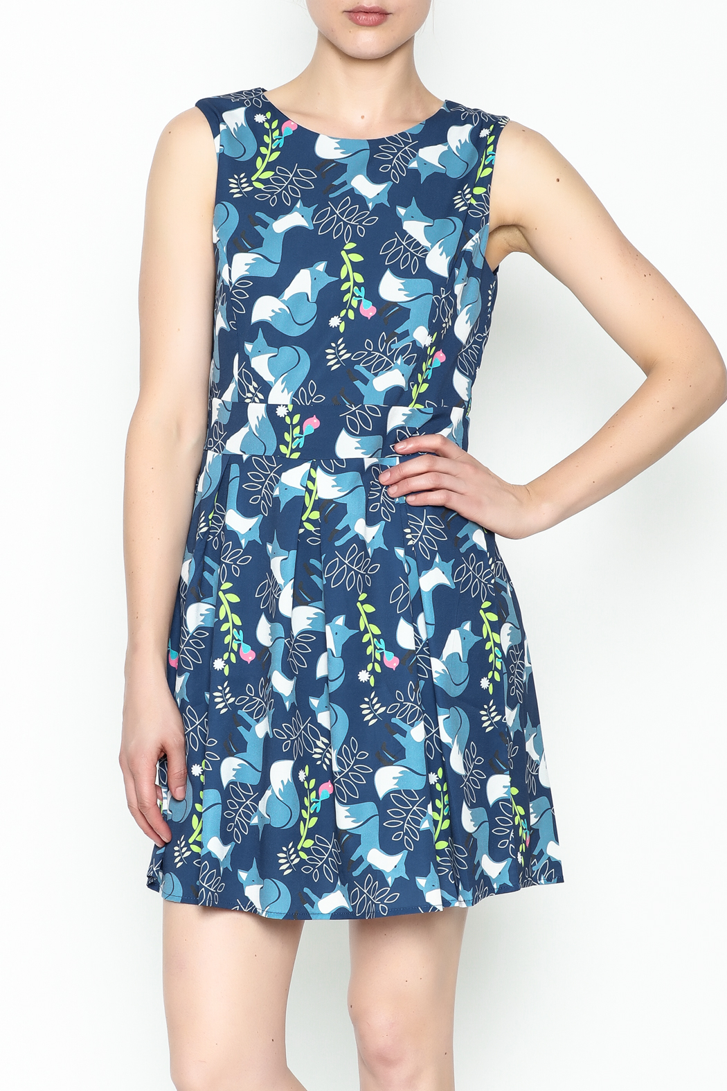 Fashion Pickle Fox Print Dress - Front Cropped Image