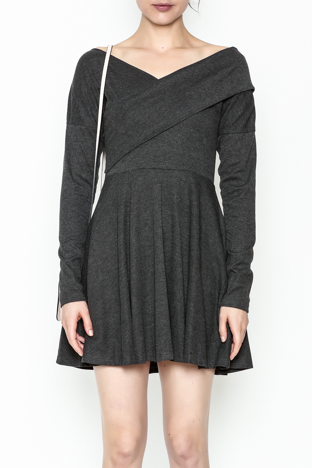 Fashion Pickle Grey Sweater Dress - Front Full Image