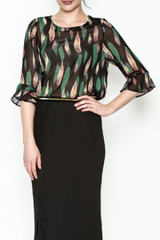Fashion Pickle Leaves Print Blouse - Product Mini Image