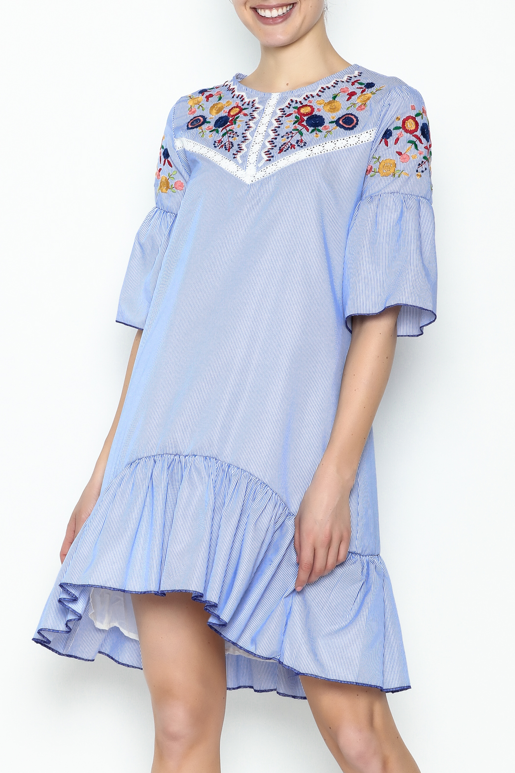 Fashion Pickle Boho Embroidered Dress - Front Cropped Image