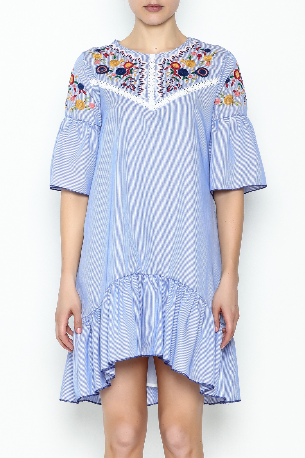 Fashion Pickle Boho Embroidered Dress - Front Full Image
