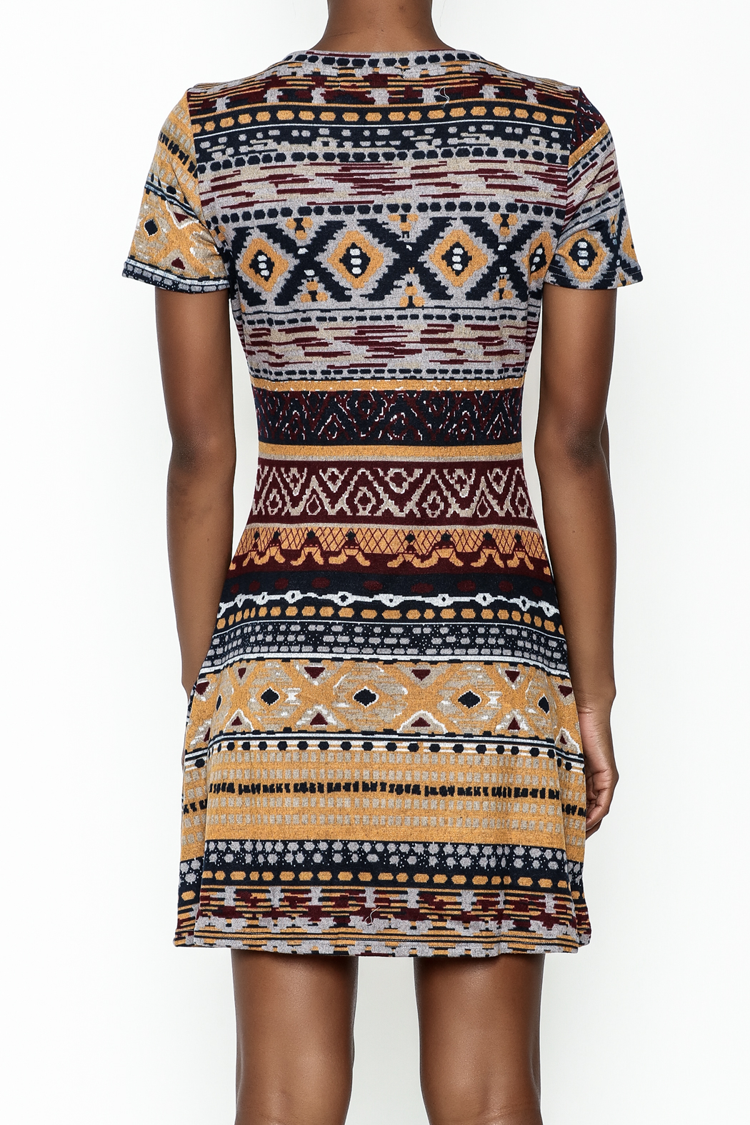 Fashion Pickle Multicolor Sweater Dress - Back Cropped Image