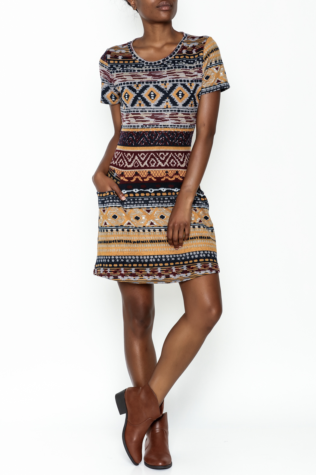 Fashion Pickle Multicolor Sweater Dress - Side Cropped Image