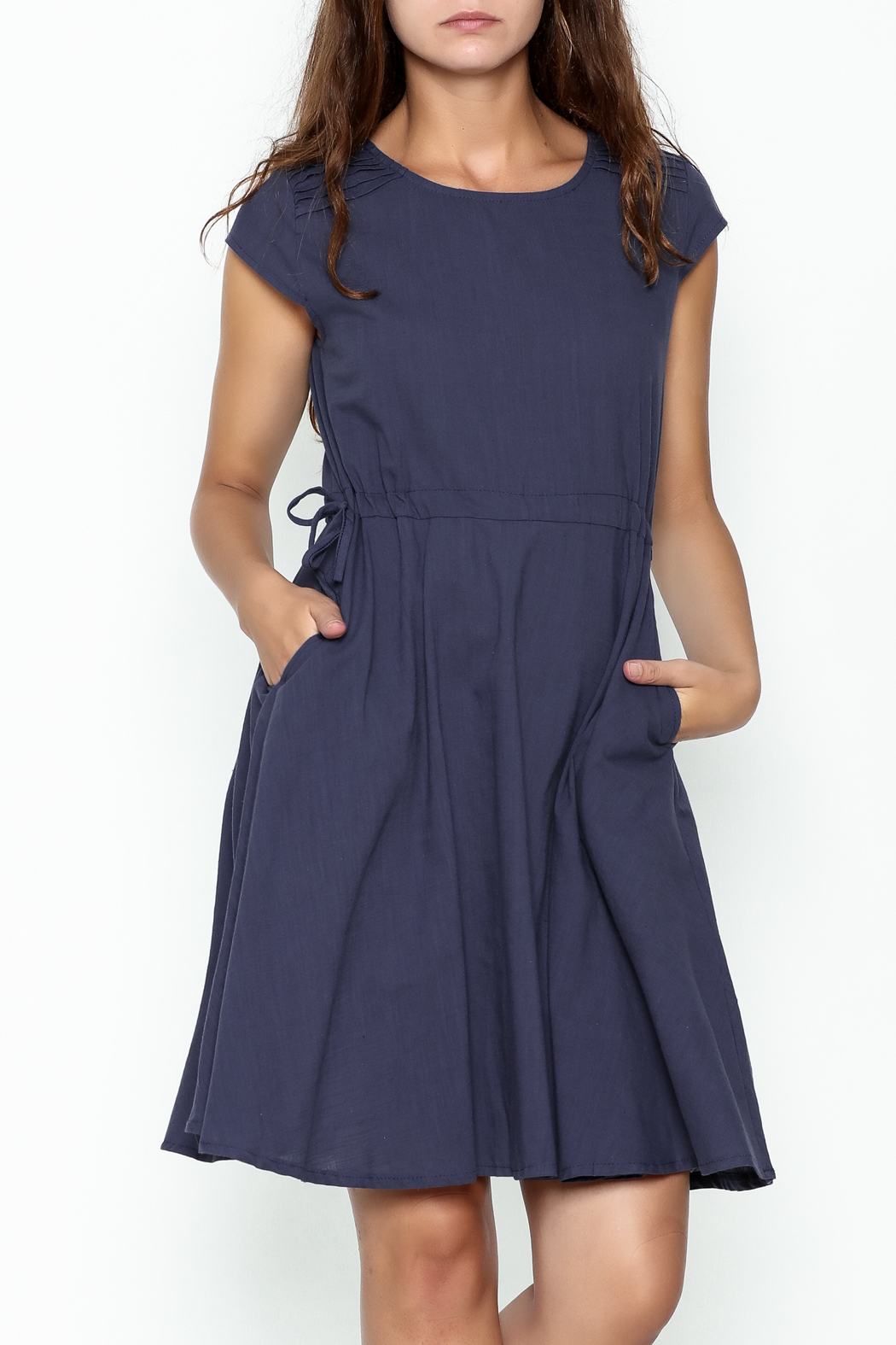 Fashion Pickle Navy Blue Pocket Dress - Front Cropped Image
