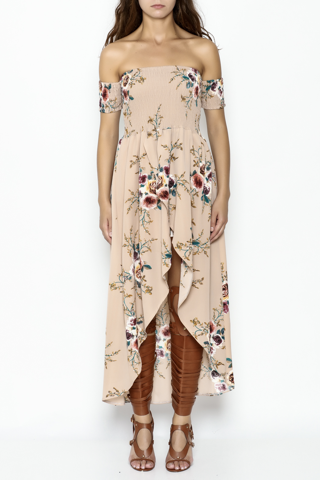 Fashion Pickle Nude Maxi Dress - Front Full Image