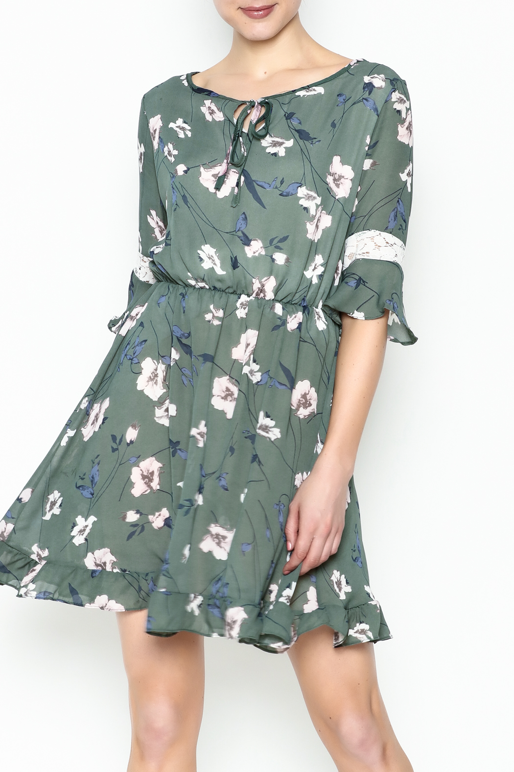 Fashion Pickle Floral Lace Printed Dress - Main Image
