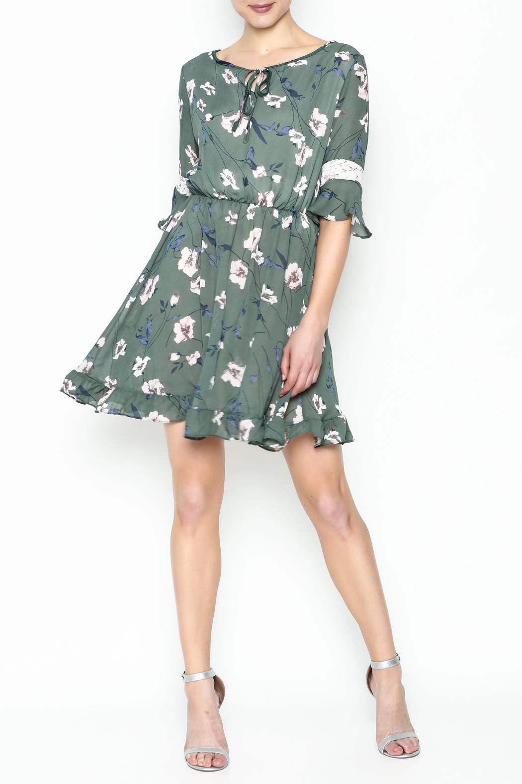 Fashion Pickle Floral Lace Printed Dress - Side Cropped Image