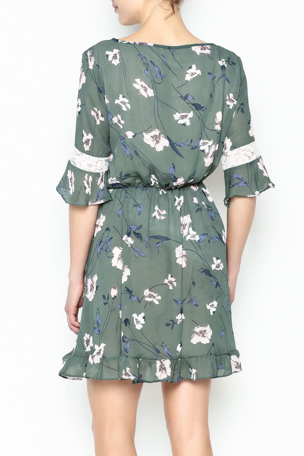 Fashion Pickle Floral Lace Printed Dress - Back Cropped Image