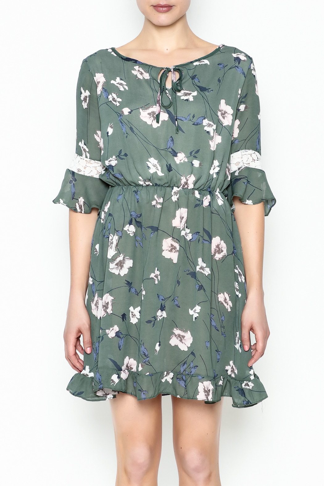 Fashion Pickle Floral Lace Printed Dress - Front Full Image