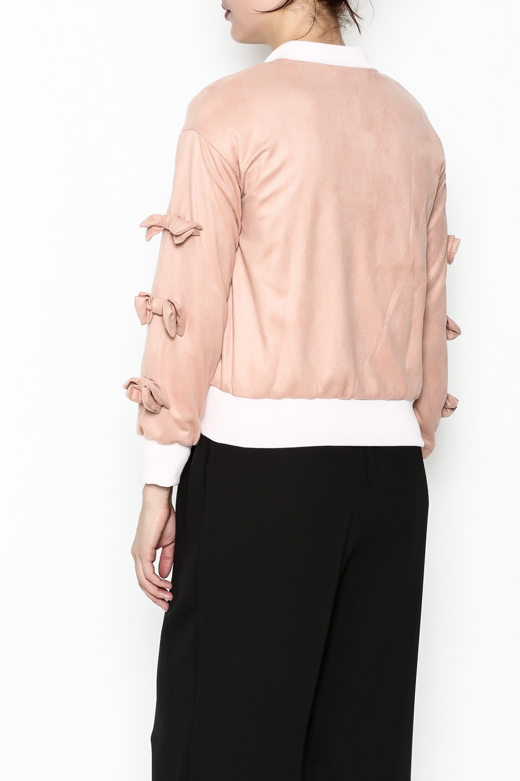 Fashion Pickle Pink Bow Jacket - Back Cropped Image